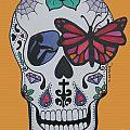 Sugar Candy Skull Orange by Karen Larter
