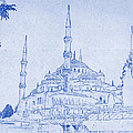 Sultan Ahmed Mosque Istanbul Blueprint by Kaleidoscopik Photography