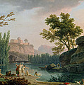 Summer Evening Landscape In Italy by Claude Joseph Vernet