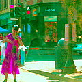 Summer Heatwave Too Hot To Walk Lady Hailing Taxi Cab At Hogg Hardware Rue Sherbrooke Carole Spandau by Carole Spandau