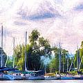 Summer Morning At Johnson's Boatyard by Michele Steffey