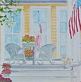 print Summer Porch and Flag for sale by Diane Jorstad