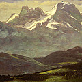 Summer Snow On The Peaks Or Snow Capped Mountains by Albert Bierstadt