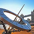 Sun Dial And Tower Bridge London by Gill Billington