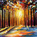 Sun Of January - Palette Knife Landscape Forest Oil Painting On Canvas By Leonid Afremov by Leonid Afremov