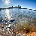Sun Shining Over Lake Wylie In North Carolina by Alex Grichenko