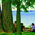Sunday Picnic On The Lake Maple Trees At The Canal Pte Claire Montreal Waterscene Carole Spandau by Carole Spandau