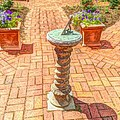 Sundial In The Garden by Becky Lupe