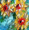 Sunflower Study Painting by Mary Cahalan Lee- aka PIXI