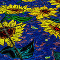 Sunflower Tiled Oil Painting by Michael Moriarty