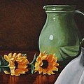 Sunflowers And Green Water Jug by Daniel Kansky