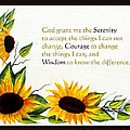 Sunflowers And Serenity Prayer by Barbara Griffin