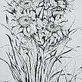 Sunflowers Black And White by Vicki  Housel