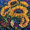 Sunflowers Bouquet In Vase by OLena Art Brand