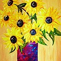 Sunflowers In A Red Pot by Eloise Schneider Mote