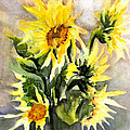 Sunflowers In Abstract by Maria Hunt
