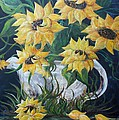 Sunflowers In An Antique Country Pot by Eloise Schneider