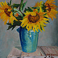 Sunflowers In Blue Vase by Keith Burgess