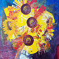 Sunflowers In Blue Vase by Valerie Wolf