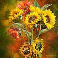 Sunflowers In Sunflower Vase - Square by Carol Cavalaris