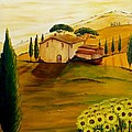 Sunflowers In Tuscany by Christine Huwer