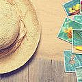 Sunhat And Postcards by Amanda Elwell