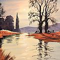Sunlit River - Chess At Latimer by Bill Holkham