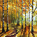 Sunny Birches - Palette Knife Oil Painting On Canvas By Leonid Afremov by Leonid Afremov