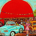 Sunny Day At The Big Orange Julep  Montreal Road Side Diner Carole Spandau by Carole Spandau