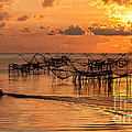 Sunrise At The Fishing Village by Kim Pin Tan
