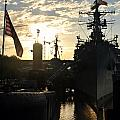Sunrise At The Naval Base Silhouette Erie Basin Marina V6 by Michael Frank Jr