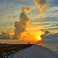 Sunrise Colors Over Navarre Beach With Stormclouds by Jeff at JSJ Photography