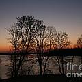 Sunrise Silhoutte On Spirit Lake by Amelia Painter