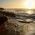 Sunrise Waves On The Rocks By Kaye Menner by Kaye Menner