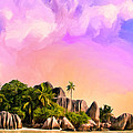Sunset At Anse Source Argent Seychelles by Dominic Piperata