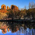Sunset At Red Rocks Crossing In Sedona Az by Teri Virbickis