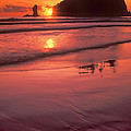 Sunset At Second Beach Olympic National Park by Dave Welling