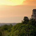 Sunset At Temple Iv At The Mayan Ruins by Kevin Steele