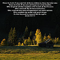 Sunset At The Cabin With Scripture by Priscilla Burgers