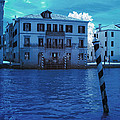 Sunset At The Hotel Canal Grande Venice Italy Near Infrared Blue by Sally Rockefeller
