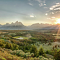 Sunset At The Tetons And Hedrick Pond by Ronnie Wiggin