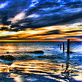 Sunset At Washed Out Pier by Elaine Plesser