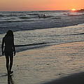 Sunset Beach Silhouette by Laurel Talabere