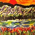 Sunset Behind Dark Hills by Martha Nelson