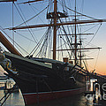 Sunset Behind Hms Warrior by Terri Waters