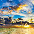 Sunset Cloudscape Silver Lining-gold Blue Pensacola Sky by Eszra Tanner