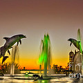 Sunset Dolphins by Marvin Spates