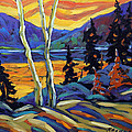 Sunset Geo Landscape Original Oil Painting By Prankearts by Richard T Pranke