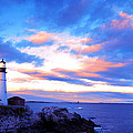 Sunset In Fork Williams Lighthouse Park Portland Maine State by Paul Ge