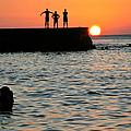 Sunset In Porto Da Barra by Manuel Prieto